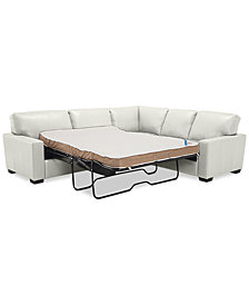 "Ennia 2-Pc. Leather ""L""-Shaped Full Sleeper Sectional Sofa, Created for Macy's"