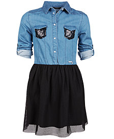 GUESS Big Girls Sequin-Trim Denim Shirt Dress