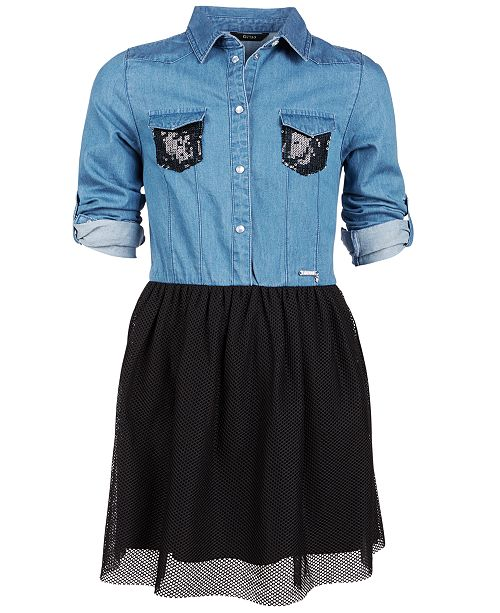 76dfce4eff GUESS Big Girls Sequin-Trim Denim Shirt Dress   Reviews - Dresses ...