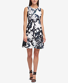 DKNY Printed Trapeze Dress, Created for Macy's
