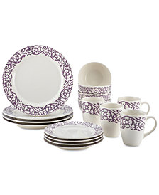 Rachael Ray Lavender Scroll 16-Pc. Dinnerware Set, Service for 4