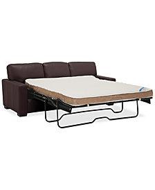 "Ennia 82"" Leather Queen Sleeper Sofa, Created for Macy's"