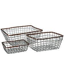 Set Of 3 Rectangular Wire Baskets