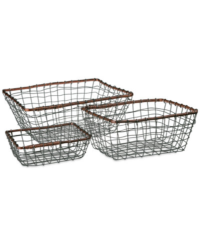 Tabletops Unlimited Set Of 3 Rectangular Wire Baskets