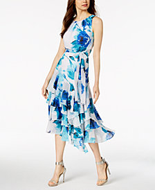 Calvin Klein Tiered Chiffon Midi Dress