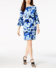 Calvin Klein Printed Bell-Sleeve Sheath Dress