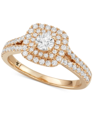 Halo Engagement Ring (1 ct. t.w.) in 14k White or Yellow Gold