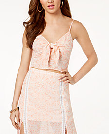 GUESS Malai Printed Tie-Front Crop Top