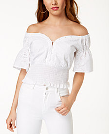 GUESS Off-The-Shoulder Cotton Eyelet Top
