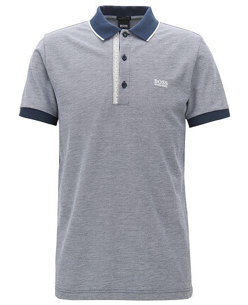 035a1c66c8 Hugo Boss BOSS Men's Slim-Fit Logo Print Cotton Piqué Polo Shirt ...