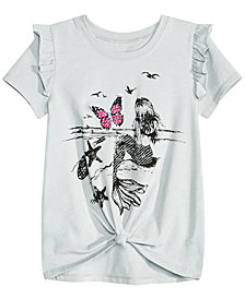 Kandy Kiss Big Girls Reversible Sequin Tie-Front T-Shirt