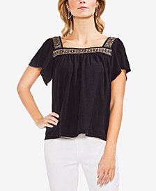 Vince Camuto Cotton Beaded Top