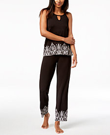 I.N.C. Printed-Hem Pajama Set, Created for Macy's