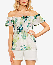 Vince Camuto Sunlit Palm Smocked Off-The-Shoulder Top