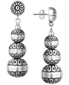 Decorative Bead Drop Earrings in Sterling Silver