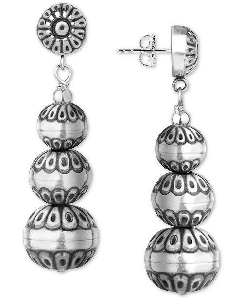American West Decorative Bead Drop Earrings in Sterling Silver