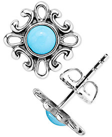 American West Turquoise Filigree Stud Earrings (3/4 ct. t.w.) in Sterling Silver