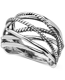 Carolyn Pollack Crisscross Statement Ring in Sterling Silver