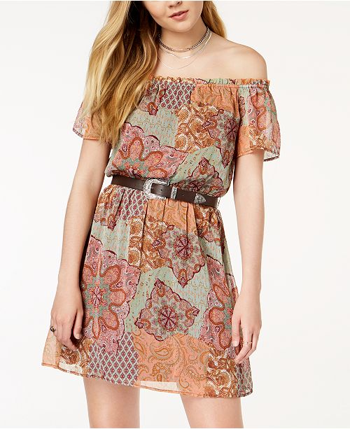 Belted The Seafoam FISHBOWL Printed Shoulder Juniors' Burgundy Dress Off qwEq6IgnA