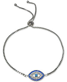 Giani Bernini Cubic Zirconia Evil Eye Slider Bracelet in Sterling Silver, Created for Macy's
