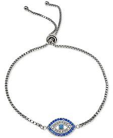 Giani Bernini Cubic Zirconia Evil Eye Slider Bracelet in Sterling Silver, Created for Macy's