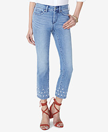 NYDJ Sheri Slim Embroidered-Hem Jeans