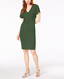 Bar III Twist-Front Flutter-Sleeve Dress, Created for Macy's