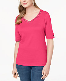 Karen Scott Cotton Embellished Cutout T-Shirt, Created for Macy's