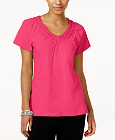 Karen Scott V-Neck Crochet Top, Created for Macy's