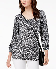 MICHAEL Michael Kors Mixed-Print Peasant Top, Regular & Petite