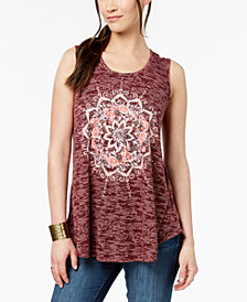 Style & Co Graphic-Print Swing Tank Top, Created for Macy's