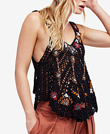 Free People Last Rose Embroidered Crochet Tank Top