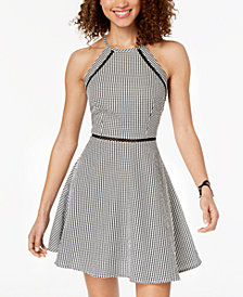 B Darlin Juniors' Gingham Fit & Flare Dress