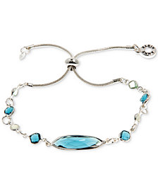 Anne Klein Silver-Tone Crystal Slider Bracelet