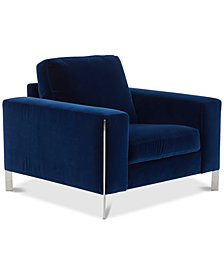 "CLOSEOUT! Cipolia 43"" Fabric Armchair with Metal Inlays, Created For Macy's"