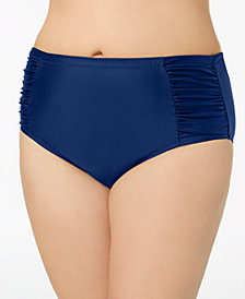 Jessica Simpson Plus Size Shirred High-Waist Bikini Briefs