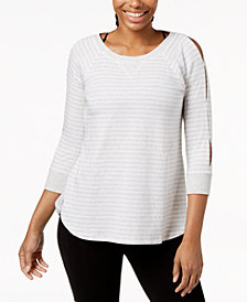 Calvin Klein Performance Striped Keyhole-Sleeve Curved-Hem Top