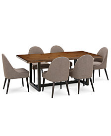 Everly Dining Furniture, 7-Pc. Set (Table & 6 Round Back Side Chairs), Created for Macy's