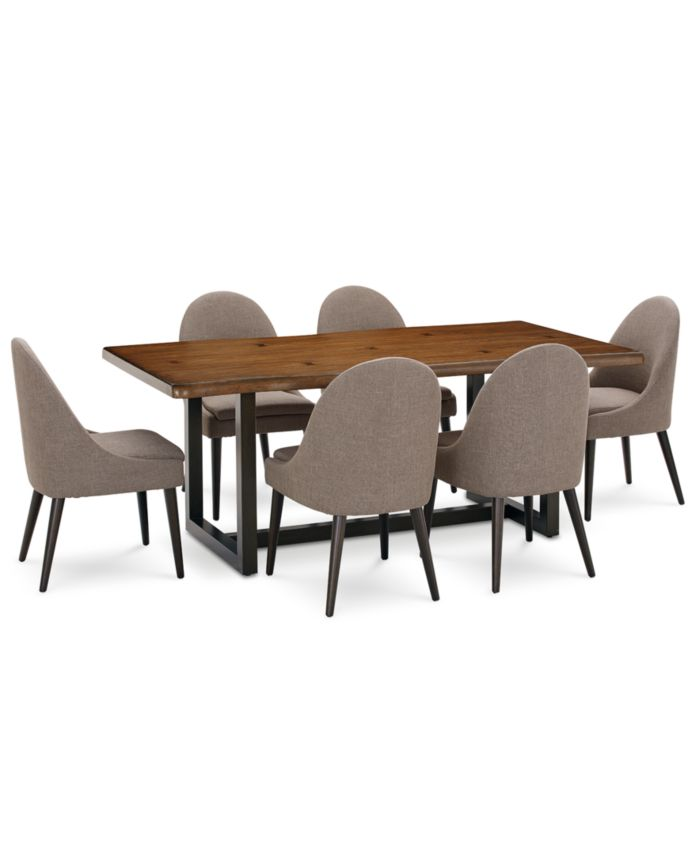 Furniture Everly Dining Furniture, 7-Pc. Set (Table & 6 Round Back Side Chairs), Created for Macy's & Reviews - Furniture - Macy's