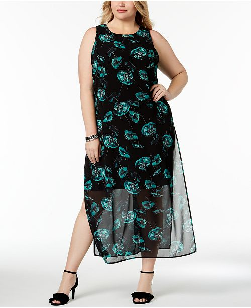 Alfani Plus Size Chiffon-Overlay Maxi Dress, Created for Macy\'s ...