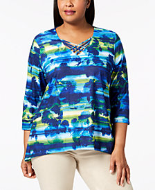 Alfred Dunner Plus Size Embellished Lattice-Neck Top