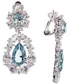 Nina Silver-Tone Cubic Zirconia Cluster Clip-On Drop Earrings
