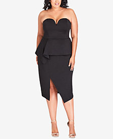 City Chic Trendy Plus Size Strapless Peplum Dress