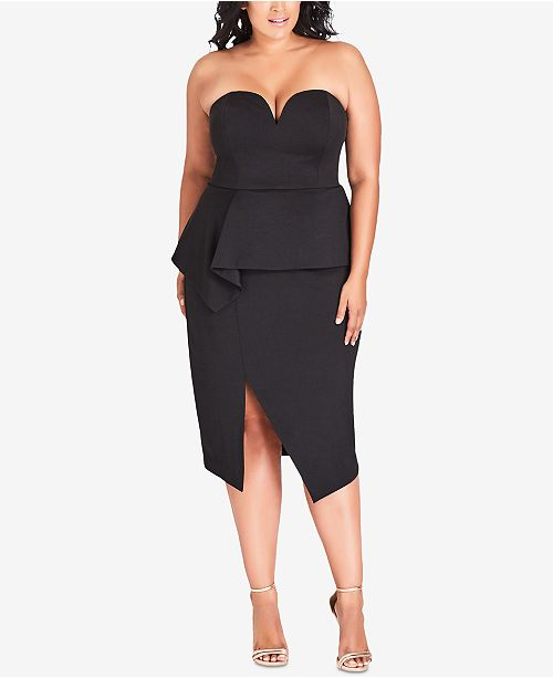 City Chic Trendy Plus Size Strapless Peplum Dress & Reviews - Women ...