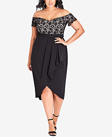 City Chic Trendy Plus Size Lace Glamour Off-The-Shoulder Dress