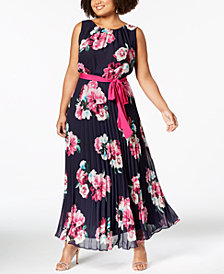 Jessica Howard Plus Size Floral-Print Pleated Maxi Dress