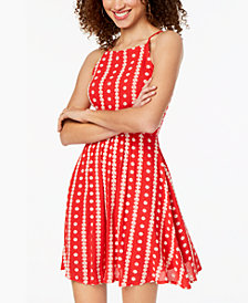 B Darlin Juniors' Embroidered Lace-Up Dress
