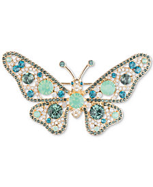 Anne Klein Gold-Tone Pavé & Stone Butterfly Pin, Created for Macy's