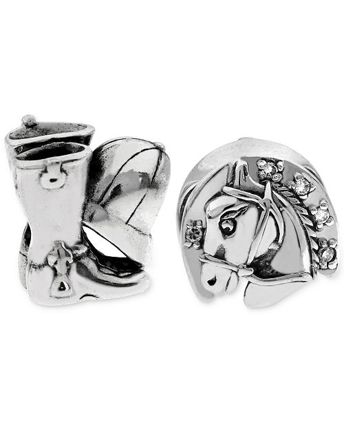 Rhona Sutton 2-Pc. Equestrian Bead Charms in Sterling Silver