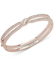 Anne Klein Pavé Twist Open Hinged Bangle Bracelet